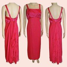 Knockout Vintage 1950's Designer Helena Barbieri Gown Fuchsia