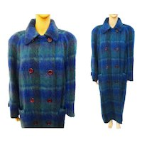 1960s Mohair Coat/Paul Levy Designs/60s Double Breasted Coat/Shades of Blue