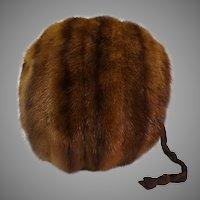 Mink Muff 1940s Dark Sable Brown Fur