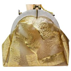 SHOW STOPPER 1950S Plastic Purse// Gold Confetti// Fringed Steamer Ribbons//
