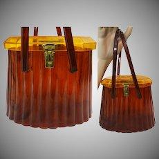 1950s LUCITE PURSE// Carved Top//Unusual Shape//Two Tone Color//Top Handle Handbag