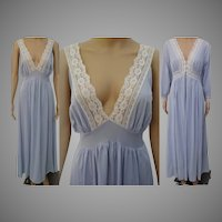 Vintage 1960s Peignoir Set | Burlesque Set | Blue Peignoir Set | 1960s Nightgown, Matching Robe |
