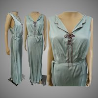 Green 1940s Nightgown, Full Length, Barbizon, Silk & Rayon, 36