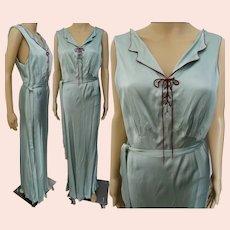 Green 1940s Nightgown, Full Length, Barbizon, Silk & Rayon, 36