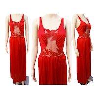 Vintage 1950s Nightgown / Fire Engine Red / Designer Ea Notte /