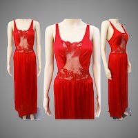 Vintage 1950s Nightgown / Fire Engine Red / Designer Ea Notte /