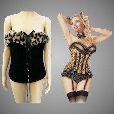 Vintage Bustier - Faux Leopard Print, Burlesque Bustier, Black, Vintage Corset