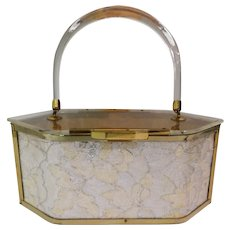 STUNNING 1950s Lucite Purse//Majestic//Octagon Shape//Clear//Lace