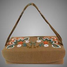 1950s Purse//Beaded//Designer Brown Handbag//Mid Century//Retro//Coin Purse// Mirror