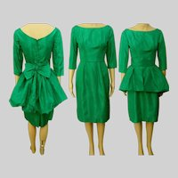 Vintage 1950s Dress | Emerald Green | Bubble Peplum | Party Dress | 50s Dress