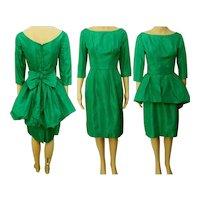 Vintage 1950s Dress | Emerald Green | Bubble Peplum | Party Dress | 50s Dress