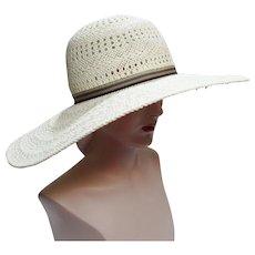 Vintage Large Brim Hat - Creme - Preston & York - 1980s Hat - Gorgeous