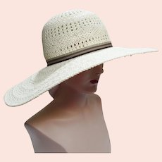 Vintage Large Brim Hat - Creme - Preston & York - 1980s Hat - Gorgeous