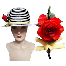 Vintage 1950s Hat - 50s Hat, Frank Oliver Hat, Red Rose, Fun, Flirty, Rockabilly,