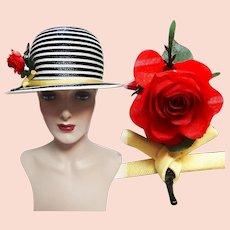 Vintage 1950s Hat - 50s Hat, Frank Oliver Hat, Red Rose, Fun, Flirty, Rockabilly,