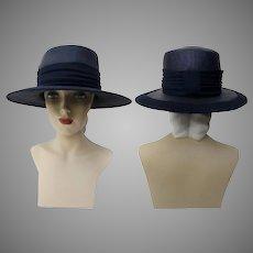 Vintage 1950s Hat - 50s Navy Blue Hat, Mr. Johns, New York, Paris
