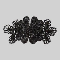 Antique Victorian Black Beaded Glass Belt Buckle - 1900's - Dress Belt Buckle