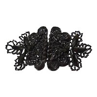 Antique Victorian Black Beaded Glass Belt Buckle - 1900's - Dress Belt Buckle