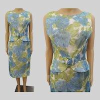 Vintage 1950s Dress | Floral | Wiggle Dress | Chiffon | Peplum