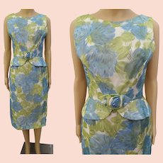 Vintage 1950s Dress | Floral | Wiggle Dress | Chiffon | Peplum