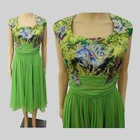 Vintage 1950s Dress | Peggy Hunt | Chiffon | Brocade | Pleated Cummerbund Waist