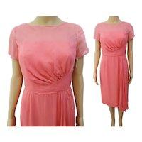Rare 1950s Dress | Pink | Wiggle Dress | Chiffon Drape | Illusion Dress | Party Dress | DuBerry | Tags Attached