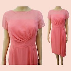 Rare 1950s Dress | Pink | Wiggle Dress | Chiffon Drape | Illusion Dress | Party Dress | DuBerry | Tags Attached