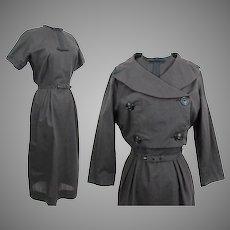 Vintage 1950s Dress | Bolero Jacket | L'Aiglon | Brown Plaid