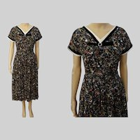 1940s Dress | Novelty Print | Rockabilly | Black | Colorful Florals | 40s Dress