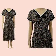 1940s Dress | Novelty Print | Rockabilly | Black | Colorful Florals | 40s Dress