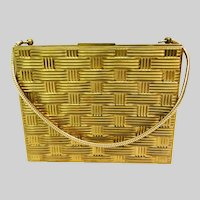 Vintage 1950s Purse//Carry All //Compact//Compartments//Dated 1956//Signed