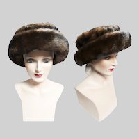 Vintage 1950s Hat - Faux Mink,Brown, 50s hat