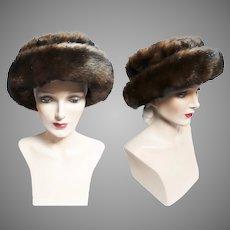Vintage 1950s Hat - Faux Mink,Brown, 50s hat