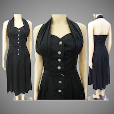 Vintage 1940s Halter Dress | Black | Rhinestone Accents | Dropped Waistline | Pinup Dress | 40s Dress