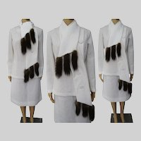 Vintage 1960 Suit | Winter White | Fox Tails | Fox Original | Couture |