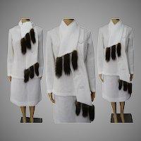 Vintage 1960 Suit | Winter White | Fox Tails | Fox Original | Couture |