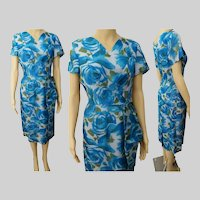 Vintage 1950s Dress | Side Drape | Blue Roses | Floral | Grace Adams Original | Tags Attached | NOS