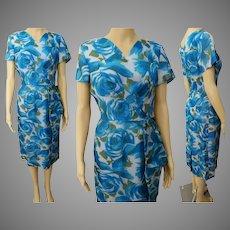 Vintage 1950s Dress | Side Drape | Blue Roses | Floral | Grace Adams Original | Tags Attached | NOS