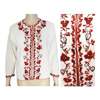 Vintage 1950s Beaded Sweater | Creme | Red Beads | Piping| Sequins | Made in Hong Kong |