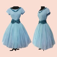 Vintage 1950s Dress | Blue Chiffon | Aqua Velvet | Full Skirt | Rockabilly | Femme Fatale