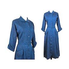Vintage 1940s Dress | Blue | Specks of Red | Matching Covered Belt | Tailored | Princess Line Dress | Rockabilly