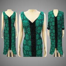Vintage 1950s Dress | Matching Jacket | Full Length Dress | Beading | Tailored | Green | Beaded Dress |