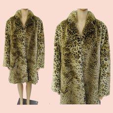 Leopard Coat / Vintage 1960's Leopard Print Faux Fur Coat