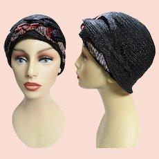 RARE 1920s Cloche Hat | Black | Designer Cloche | 20s Flapper Hat |
