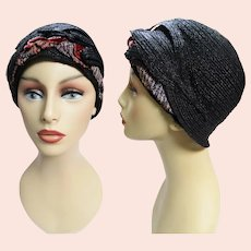 RARE 1920s Cloche Hat | Black | Designer Cloche | 20s Flapper Hat |