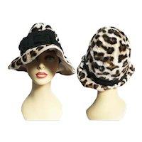 1960s Leopard Hat / 60s Faux Fur Hat / Mr. Johns Jr. Leopard Hat