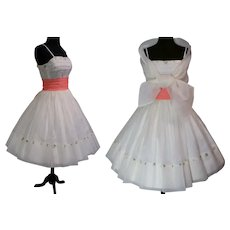 Vintage 1950s Dress//Matching Stole//Off White Organdy// 50s Dress//Rockabilly//New Look//Party Dress