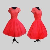 1950s Dress - Vintage 50s Dress - L'Aiglon Illusion Bodice Lace and Chiffon