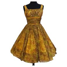 Vintage 1950s Dress //Floral//Full Skirt//Party Dress//GiGi Young//Chiffon//50s Dress