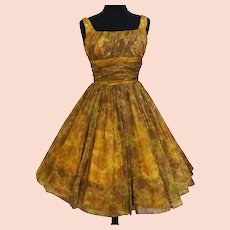 Vintage 1950s Dress //Floral//Full Skirt//Party Dress//GiGi Young//Chiffon//50s Dress